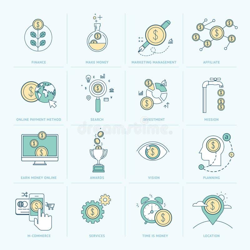 Set mieszkanie linii ikony dla finanse ilustracji