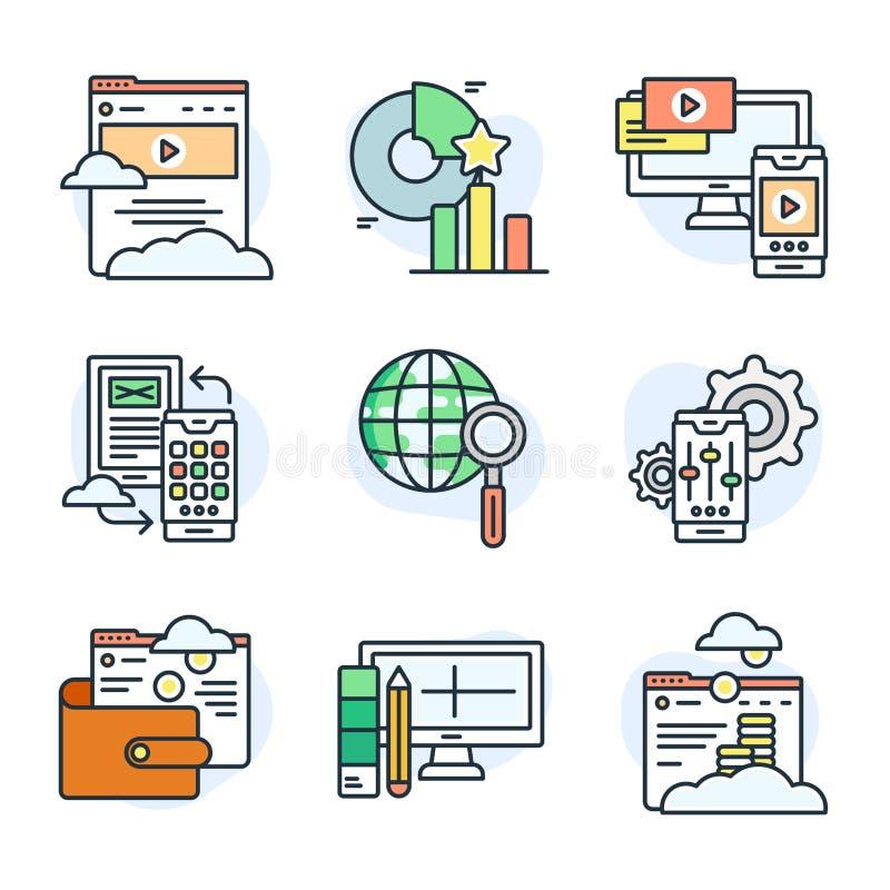 Set mieszkanie linii ikony o cyfrowych dane i sieciach ilustracji