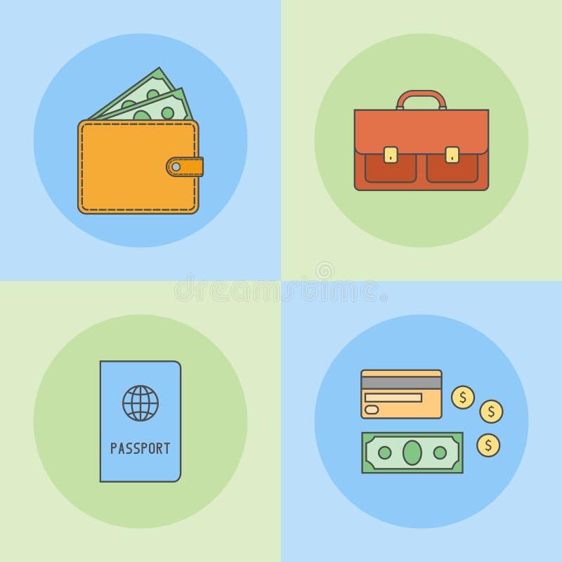 Set mieszkanie linii ikony Teczka, paszport, portfel, pieniądze, kredytowa karta royalty ilustracja
