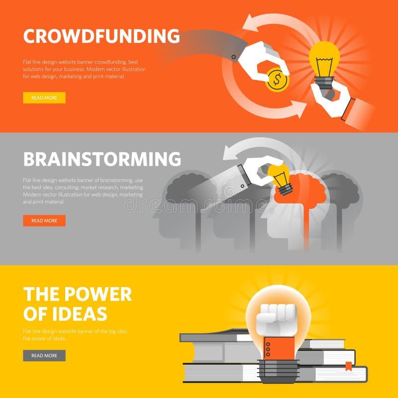 Set mieszkanie linii projekta sieci sztandary dla crowdfunding, brainstorming, duży pomysł royalty ilustracja