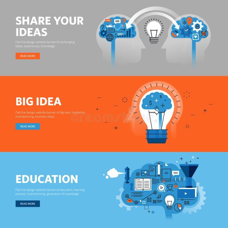 Set mieszkanie linii projekta sieci sztandary dla edukaci, uczenie proces, brainstorming, wymienia pomysły ilustracja wektor