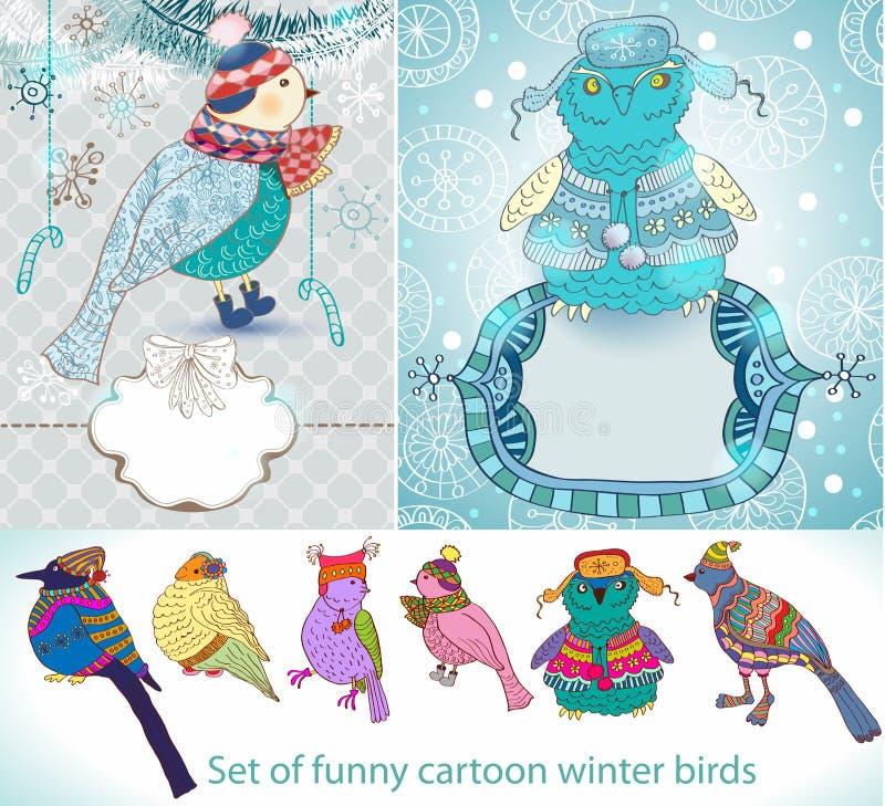 Set śmieszni Kreskówki Zima Ptaki Zdjęcia Royalty Free