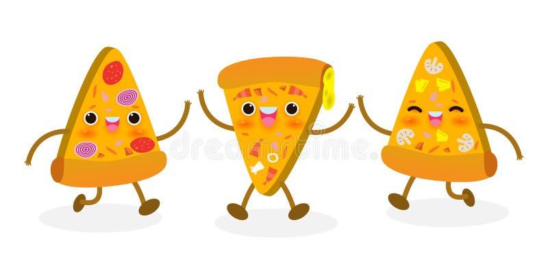 Set ?mieszny pizza plasterek FastFood Pizza projekt Wektorowa ilustracyjna posta? z kresk?wki odizolowywaj?ca na bia?ym tle zdjęcia stock