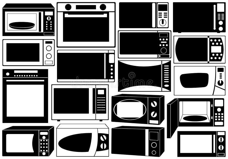 Set mikrofala piekarniki ilustracji