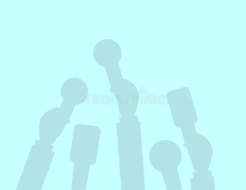 Set mikrofon sylwetki Dziennikarstwa pojęcie, środki masowego przekazu, TV, wywiad, wiadomość dnia, konferenci prasowej pojęcie M ilustracja wektor
