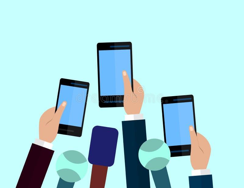 Set mikrofony i smartphones Dziennikarstwa pojęcie, środki masowego przekazu, TV, wywiad, wiadomość dnia, konferenci prasowej poj royalty ilustracja