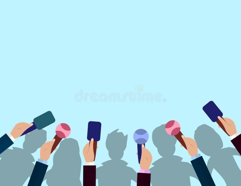 Set mikrofony i tłum sylwetki Dziennikarstwa pojęcie, środki masowego przekazu, TV, wywiad, wiadomość dnia, konferenci prasowej p ilustracji