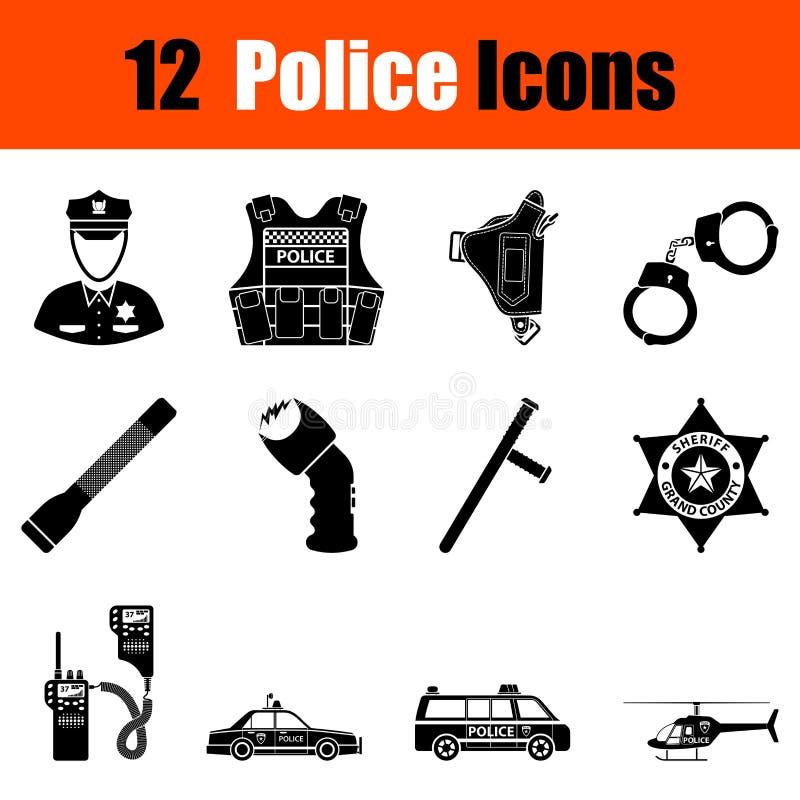 Set milicyjne ikony ilustracja wektor