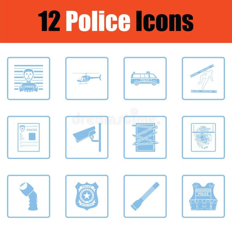 Set milicyjne ikony ilustracji