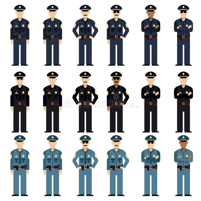 Set milicyjni mężczyzna ilustracja wektor