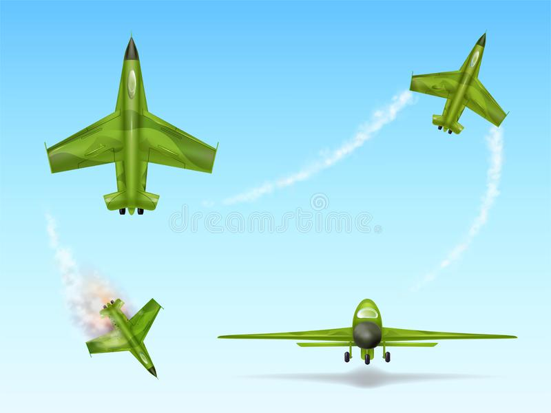 Camouflage aircraft, fighter jet. Downed aviation. Set of military aircraft, fighter jet. Camouflage combat plane in different views, downed aviation, air vector illustration