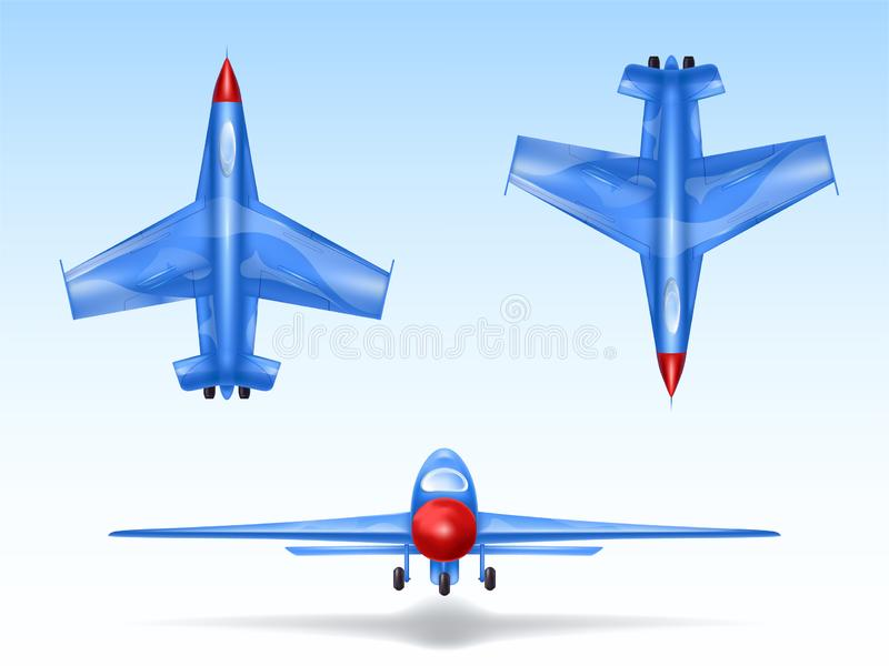 Set of military aircrafts, fighter jets. Combat plane in different views, aviation, air vehicle, war airplane. Set of military aircrafts, fighter jets. Combat stock illustration