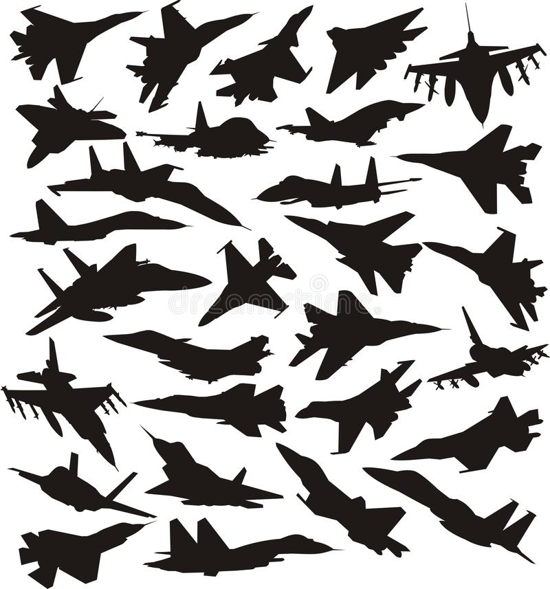 Download Set of military jets stock vector. Image of flight, fighter - 15575121