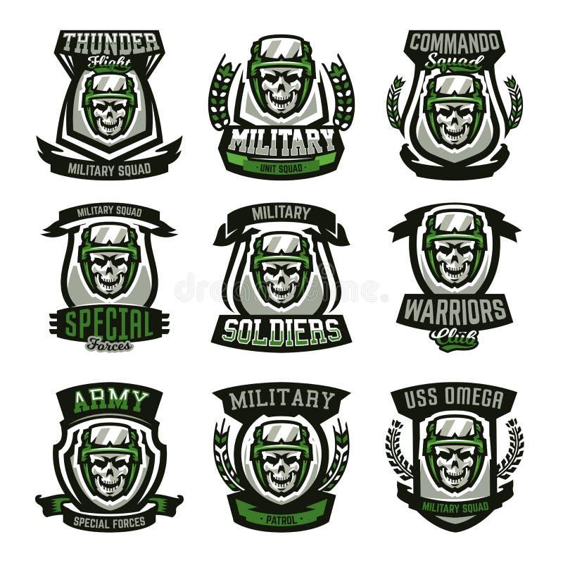 Set of military logos, emblems. Skull, helmet, glasses, soldier, ammunition. Vector illustration, printing on T-shirts. royalty free illustration