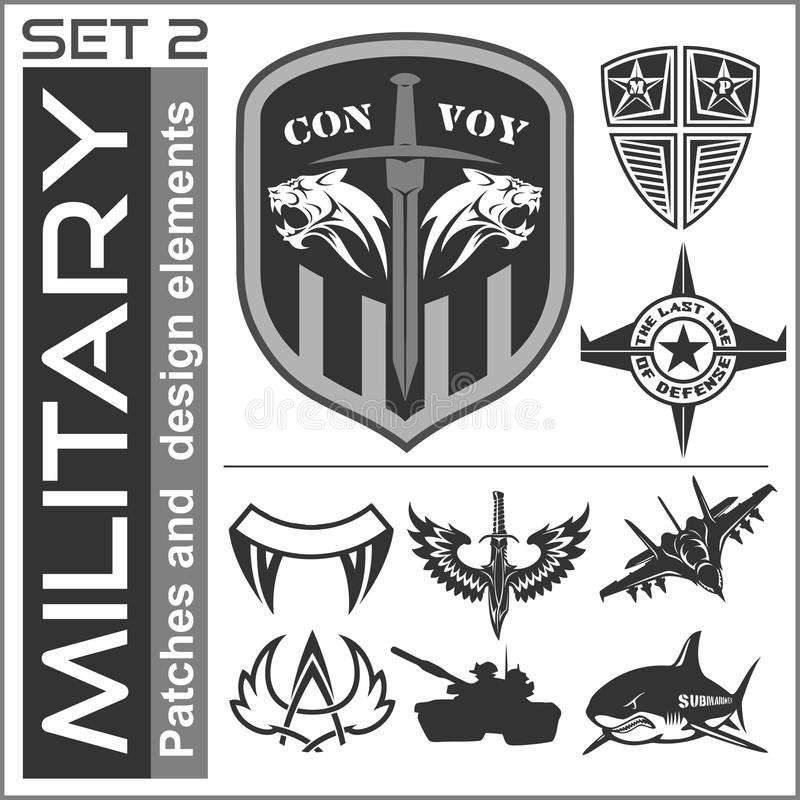set of military patches logos badges and design elements graphic template stock vector. Black Bedroom Furniture Sets. Home Design Ideas