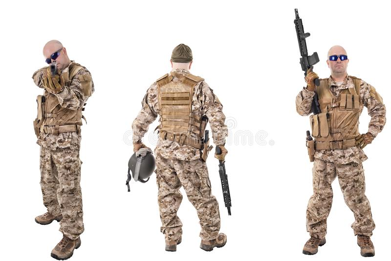 Set of military soldiers in camouflage clothes, isolated on white backgroud. royalty free stock image