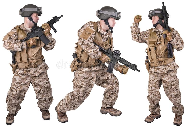 Set of military soldiers in uniform, ready to fight. Isolated on white. royalty free stock photos