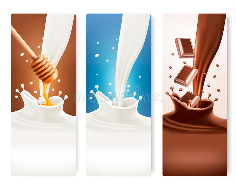 Set of milk, honey and chocolate banners. vector illustration