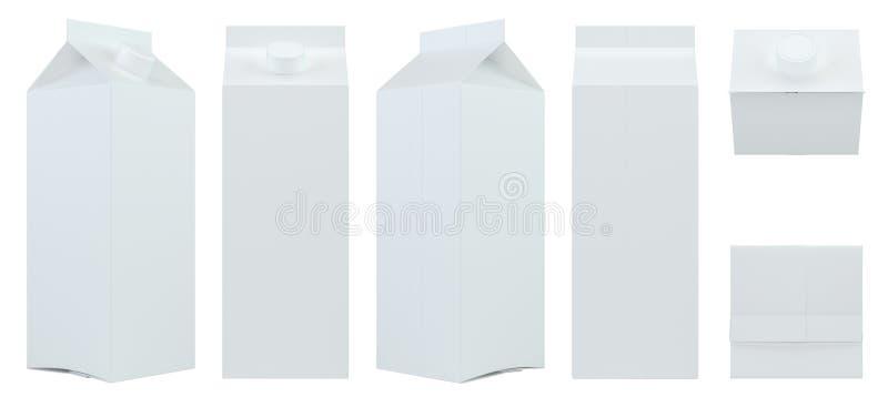 Set milk or juice carton packaging package box white blank. 3d rendering royalty free illustration