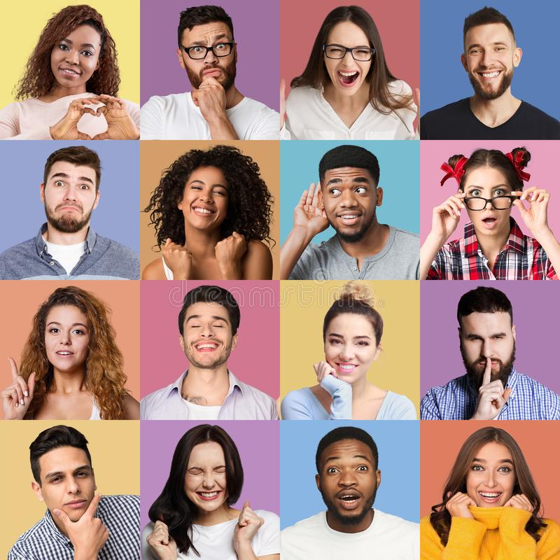 Set millennials emocjonalni portrety zdjęcia stock