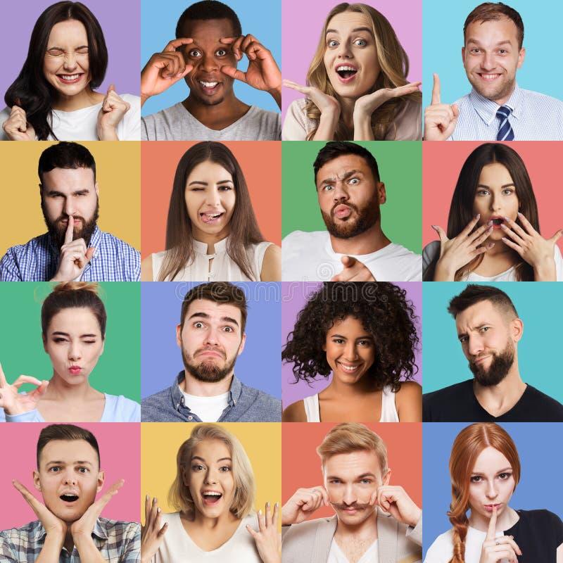 Set of millennials emotional portraits. stock photos