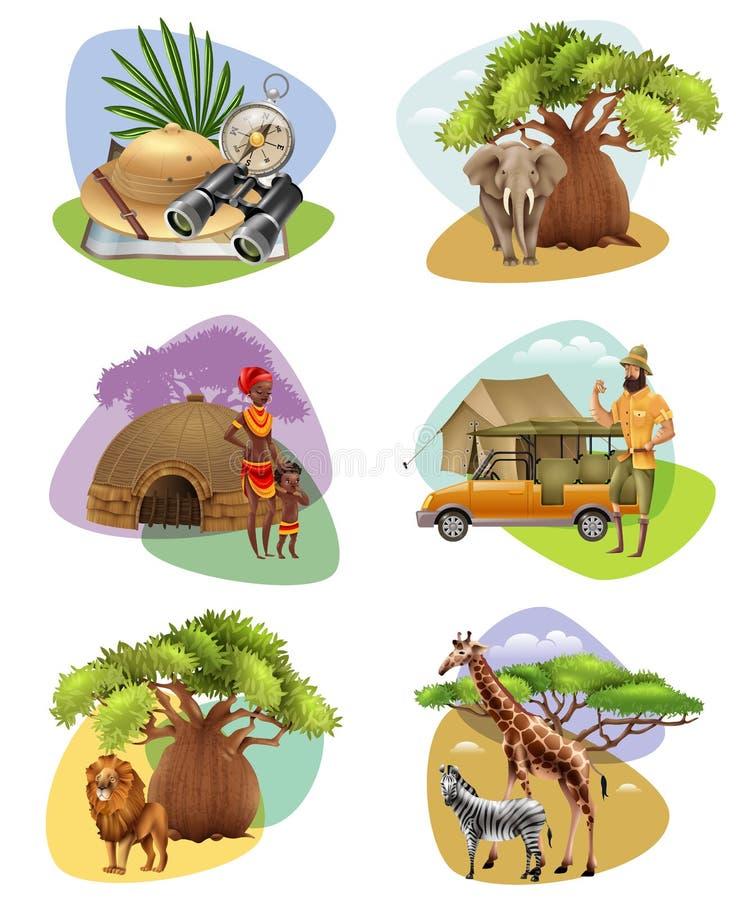Set Mini składy Na safari temacie ilustracja wektor