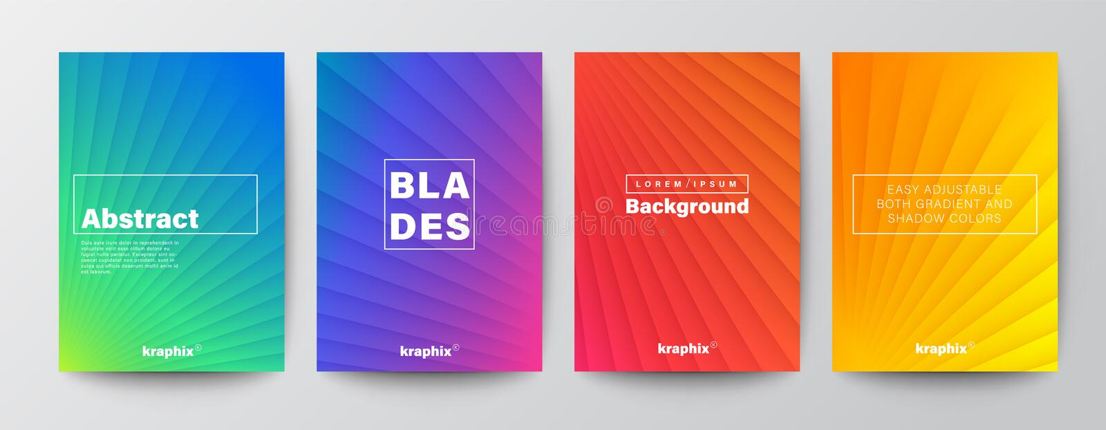 Set of minimal abstract diagonal line on vivid gradient colors background for Brochure, Flyer, Poster, leaflet, Book Cover vector illustration