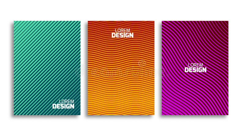 Set of minimal covers design template. Book or flyer geometric backdrop. Light pattern for corporate identity royalty free illustration