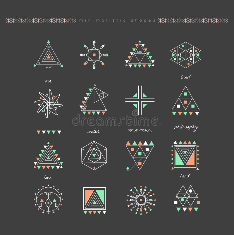 Set of minimal geometric shapes royalty free stock photo
