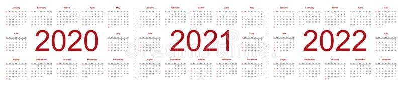 Set of minimalist calendars, years 2020 2021 2022, weeks start Sunday. Isolated vector illustration on white background vector illustration