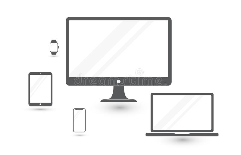 Set of minimalistic computer monitor, laptop, tablet, mobile phone and smart watch. Electronic gadgets isolated on white royalty free illustration