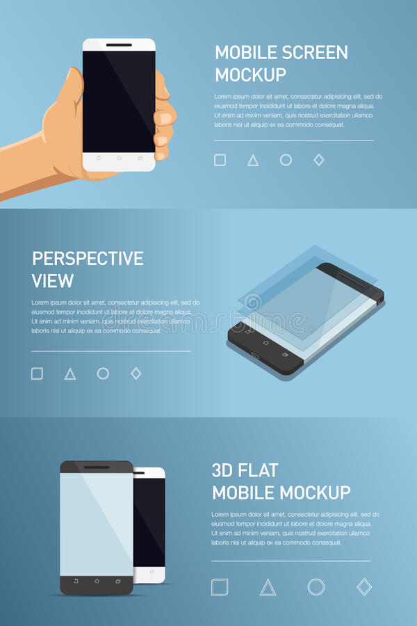 Set of minimalistic 3d isometric illustration cell phone. perspective view. Mockup generic smartphone. Template for infographics or presentation UI design stock illustration