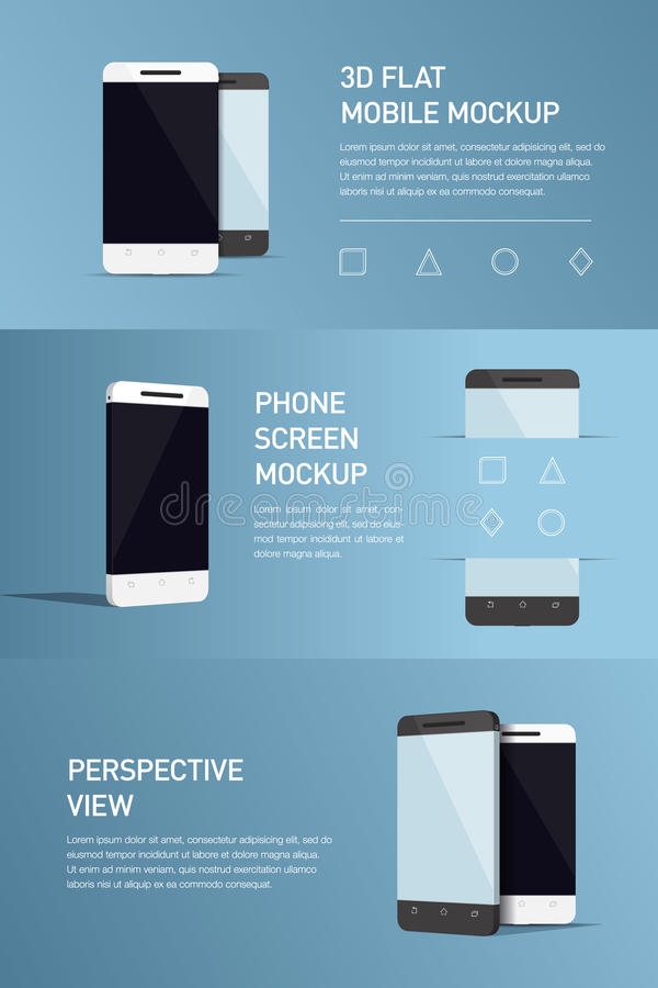 Set of minimalistic 3d isometric illustration cell phone. perspective view. Mockup generic smartphone. Template for infographics or presentation UI design royalty free illustration