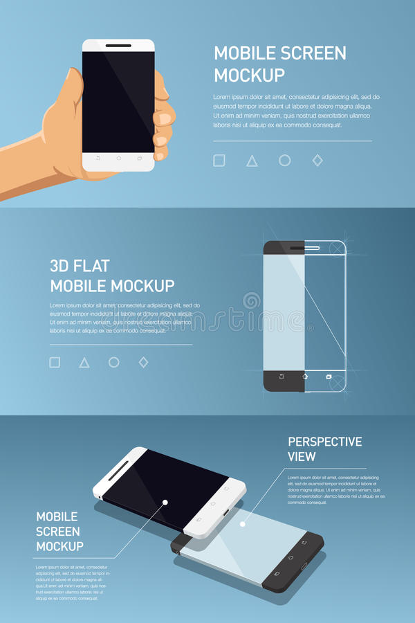 Set of minimalistic 3d isometric illustration cell phone. perspective view. Mockup generic smartphone. Template for infographics or presentation UI design vector illustration