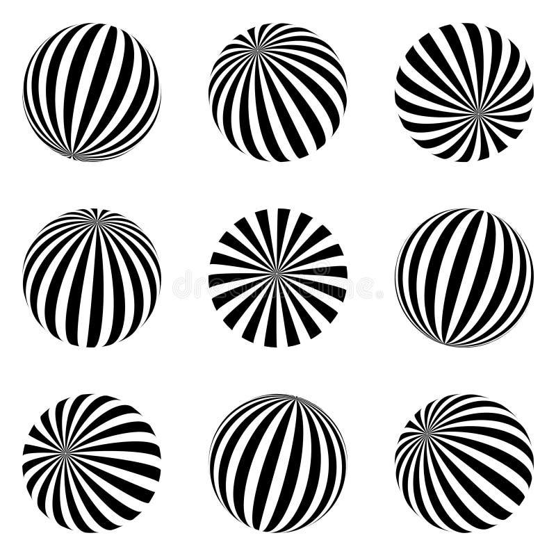 Set minimalistic kształty czarny i biały sfery odizolowywać Eleganccy emblematy Wektorowe sfery z lampasami dla sieć projektów pr ilustracja wektor