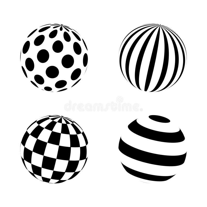 Set minimalistic kształty czarny i biały sfery odizolowywać Wektorowe sfery z kropkami, lampasy, obciosują dla sieć projektów pro ilustracja wektor