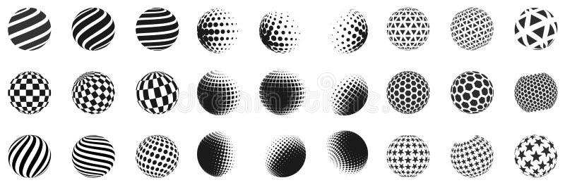 Set minimalistic kształty Halftone czerni koloru sfery odizolowywać na białym tle Eleganccy emblematy Wektorowe sfery ilustracji