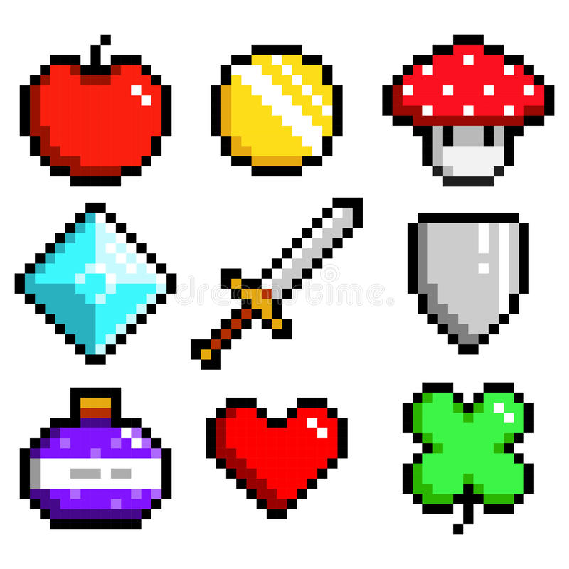 Set of minimalistic pixel art objects isolated royalty free stock images