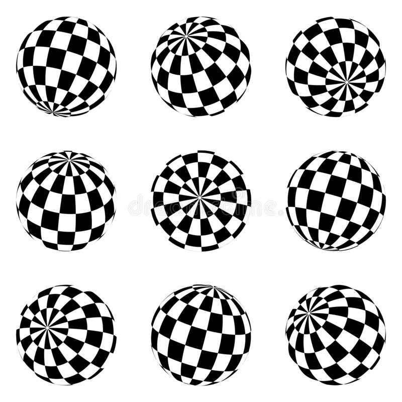 Set of minimalistic shapes. black and white spheres isolated. Stylish emblems. Vector spheres with squares for web designs. Simple vector illustration