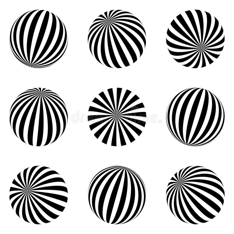 Set of minimalistic shapes. black and white spheres isolated. Stylish emblems. Vector spheres with stripes for web designs. Simple. Set of minimalistic shapes vector illustration