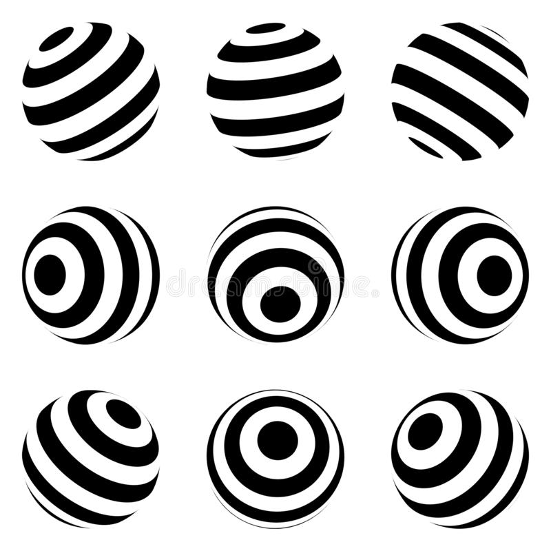Set of minimalistic shapes. black and white spheres isolated. Stylish emblems. Vector spheres with stripes for web designs. Simple. Set of minimalistic shapes stock illustration