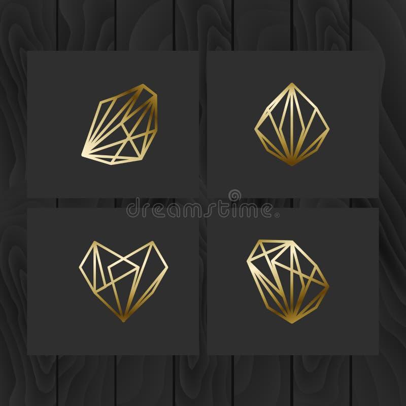 Set minimalni geometryczni monochromów kształty Modny modniś ikon symbolu set i logotypy Biznesów znaki, etykietki, odznaki, ramy ilustracja wektor