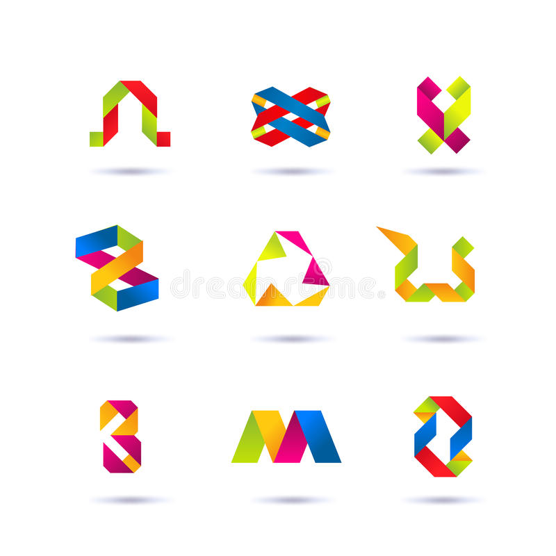 Set minimalni geometryczni multicolor symbole i kształty Modne ikony i logotypy Biznes podpisuje symbole, etykietki, odznaki, ram royalty ilustracja