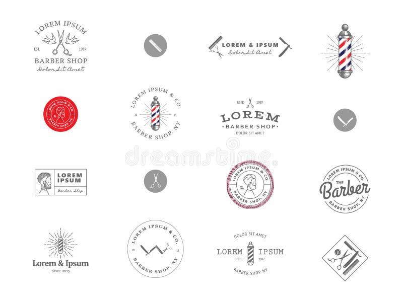 Set Minimalni rocznika modnisia logotypu szablony Czerń na białym kolorze Fryzjera męskiego sklep ilustracji