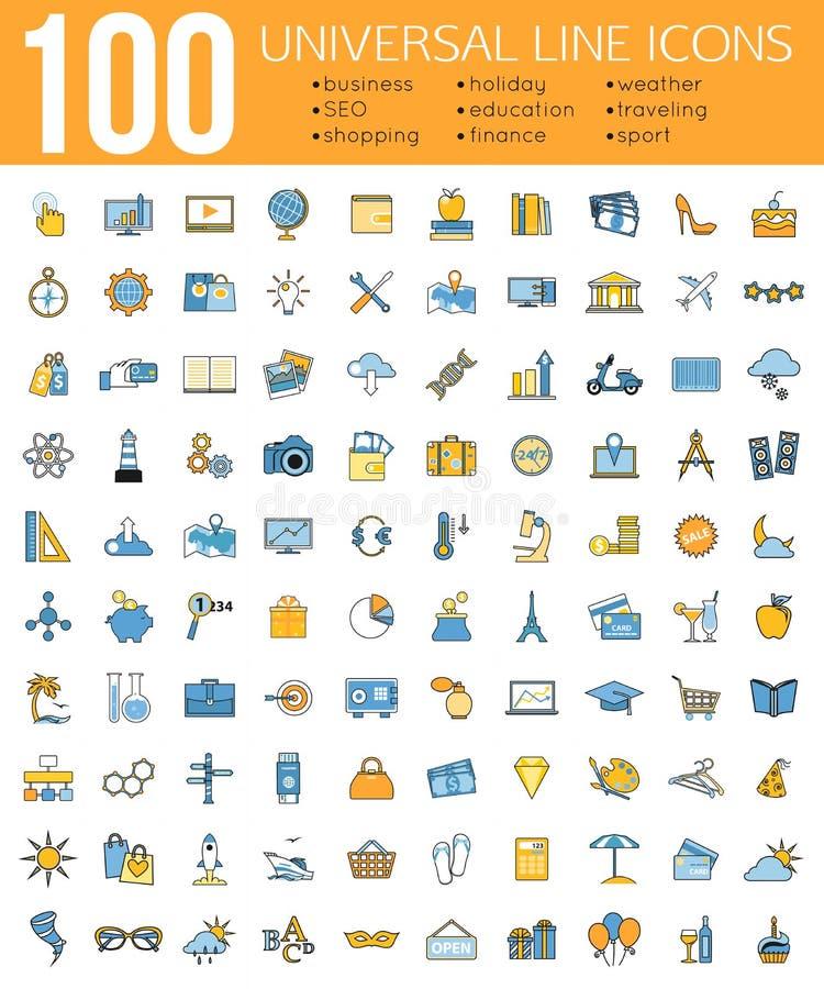 Set 100 Minimalnych cechy ogólnej linii ikon Biznes royalty ilustracja