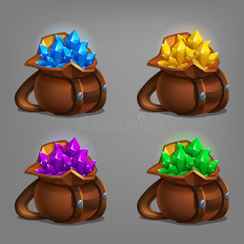 Set of mining minerals in leather bag. Golden ore, gems, crystals and stones. Vector illustration vector illustration