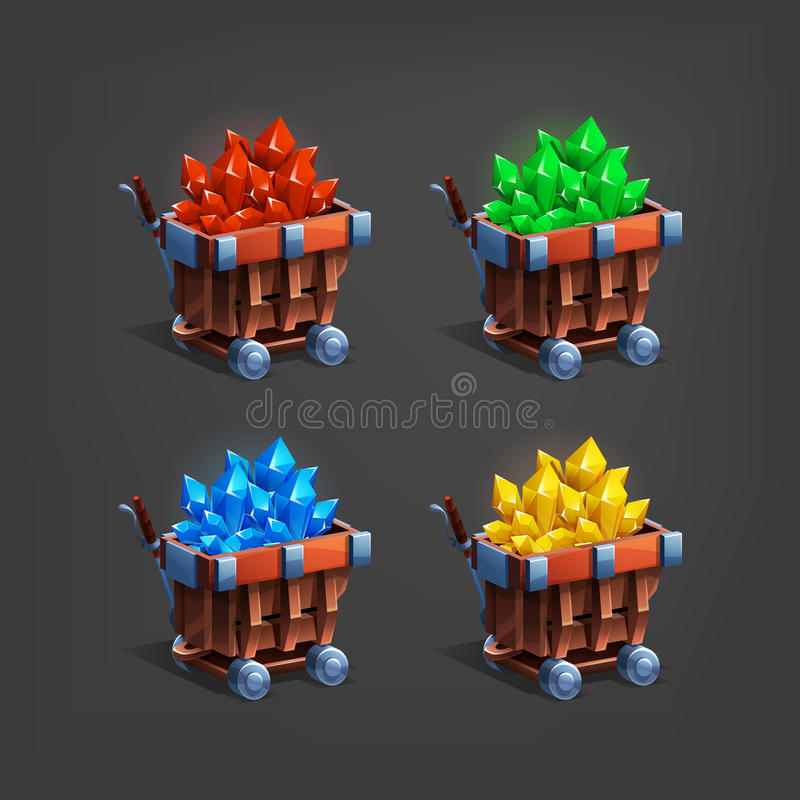 Set of mining minerals in mine trolley. Golden ore, gems, crystals and stones. vector illustration