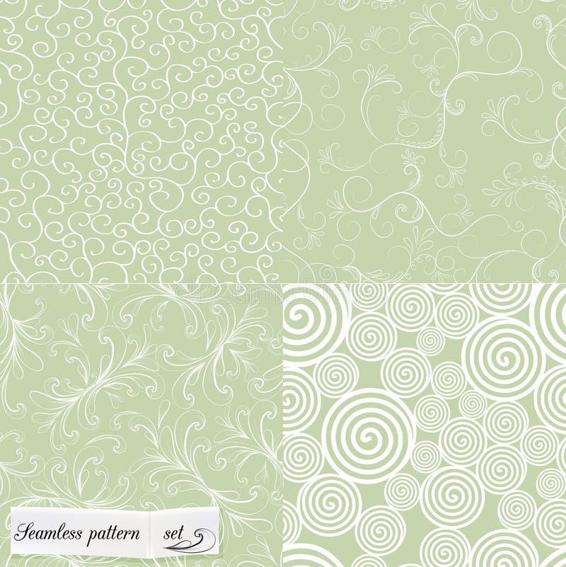 Set of mint seamless patterns