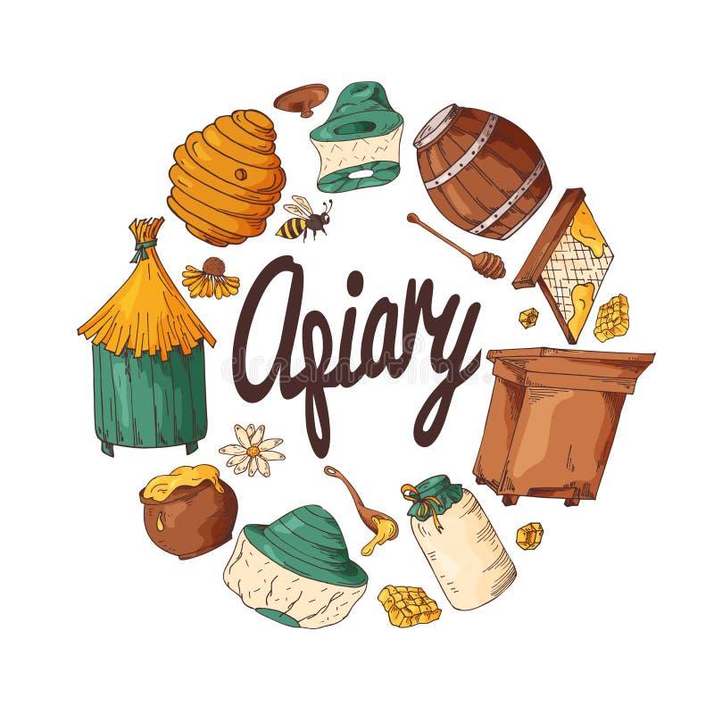 Set miodowi elementy Pasiek ikony dla twój projekta Wektorowi nakreślenia, słodki naturalny jedzenie ilustracja wektor
