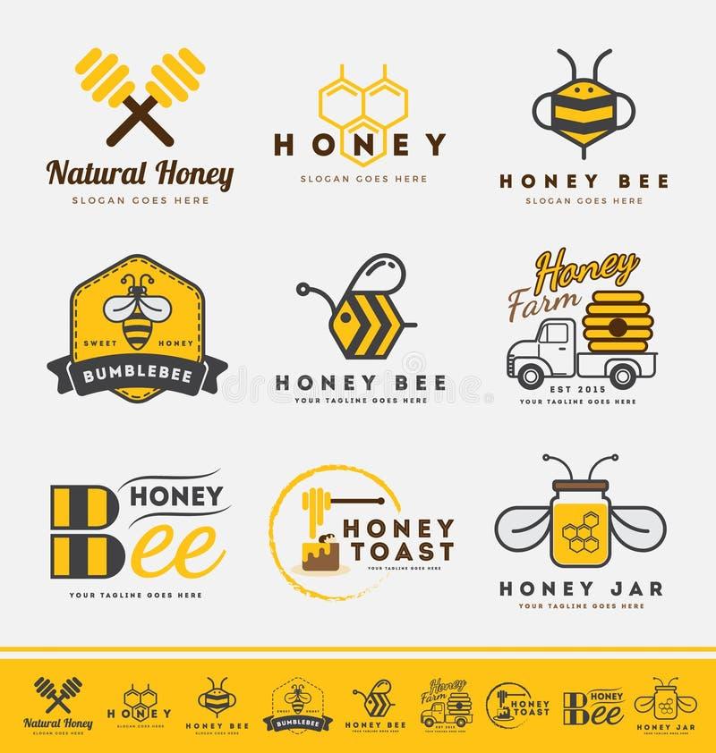 Set miodowy pszczoła logo i etykietki dla miodowych produktów royalty ilustracja